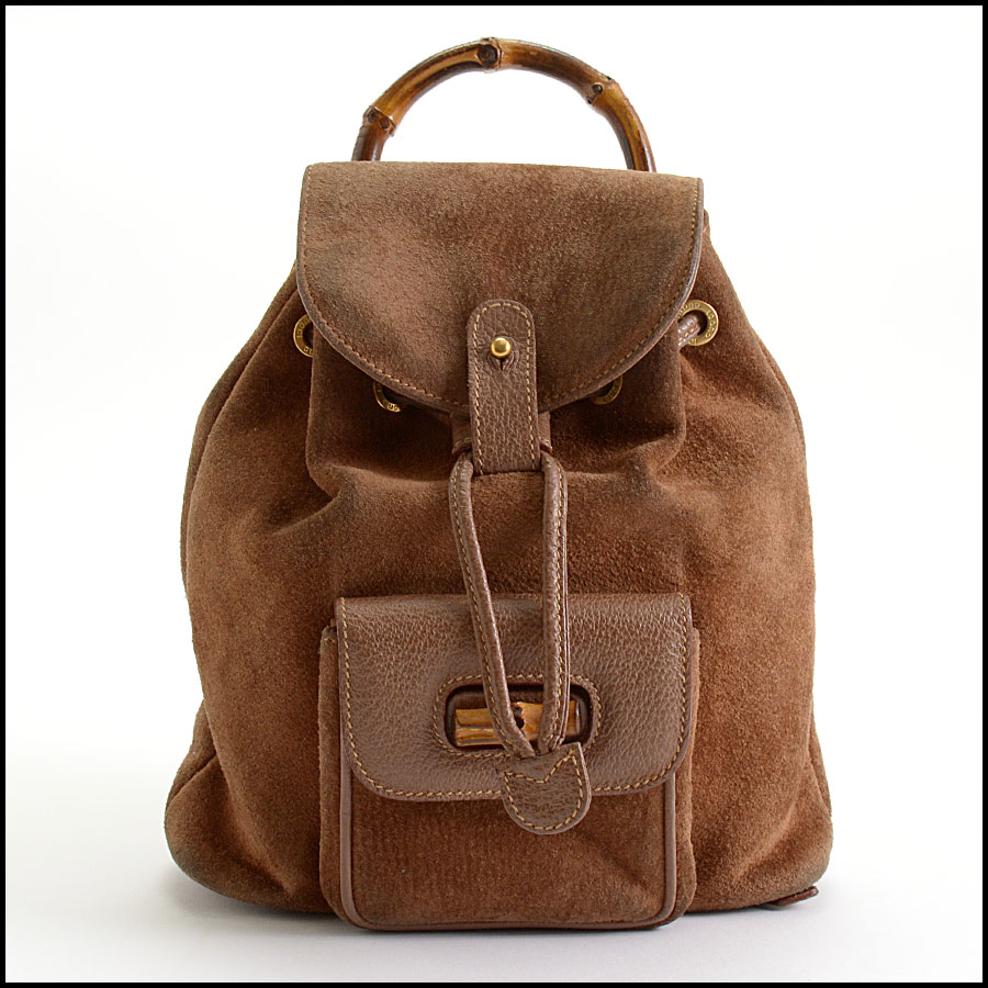 RDC10372 Gucci Brown Suede/Bamboo Handle Backpack