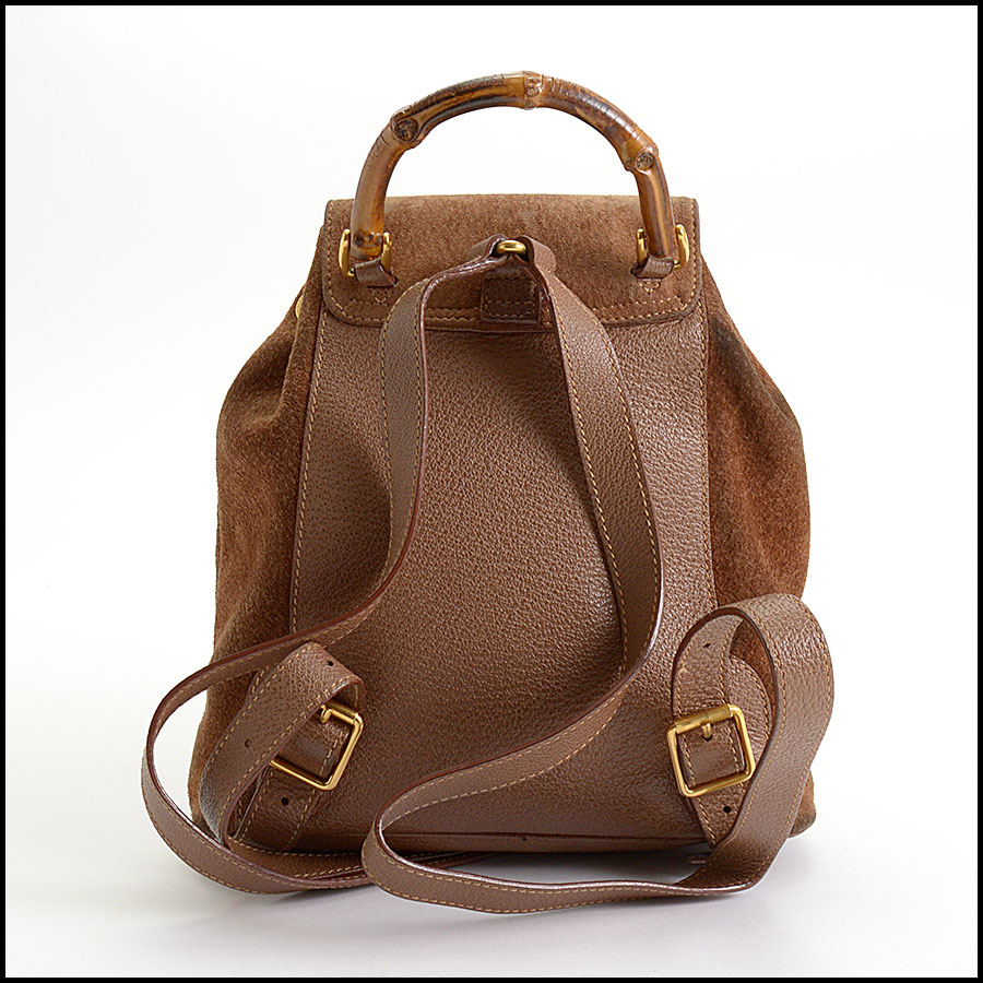 RDC10372 Gucci Brown Suede/Bamboo Handle Backpack back