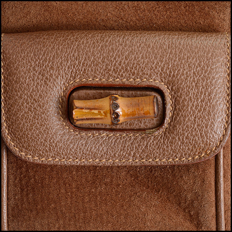 RDC10372 Gucci Brown Suede/Bamboo Handle Backpack close up