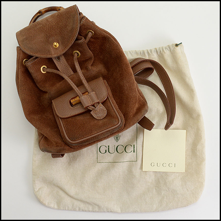 RDC10372 Gucci Brown Suede/Bamboo Handle Backpack includes
