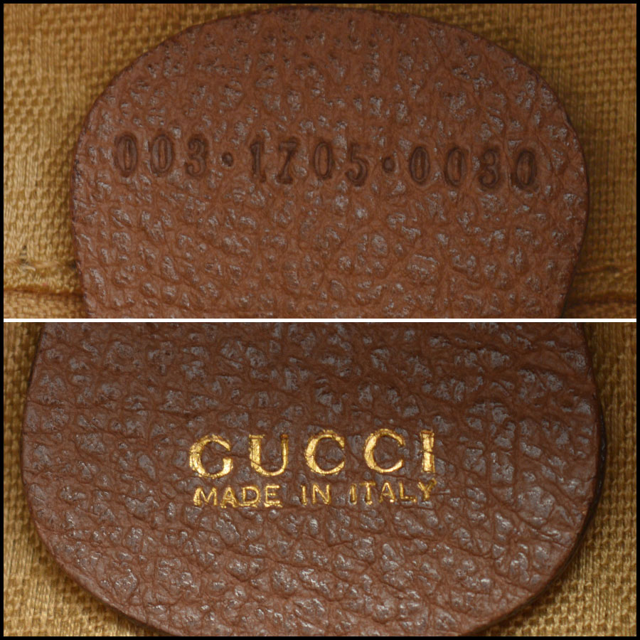 RDC10372 Gucci Brown Suede/Bamboo Handle Backpack tag