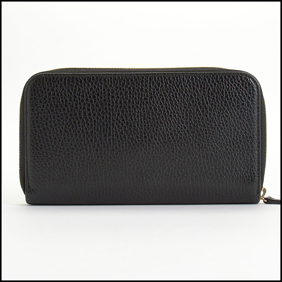 RDC10398 Gucci Black Leather Round Zip Wallet back