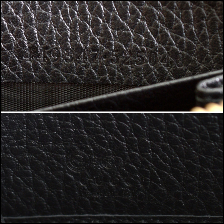 RDC10398 Gucci Black Leather Round Zip Wallet tag