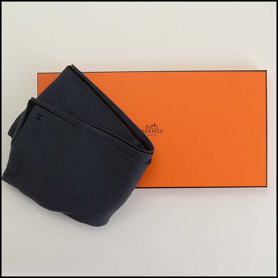 RDC11376 Hermes Black/Grey Aller Retour Scarf includes