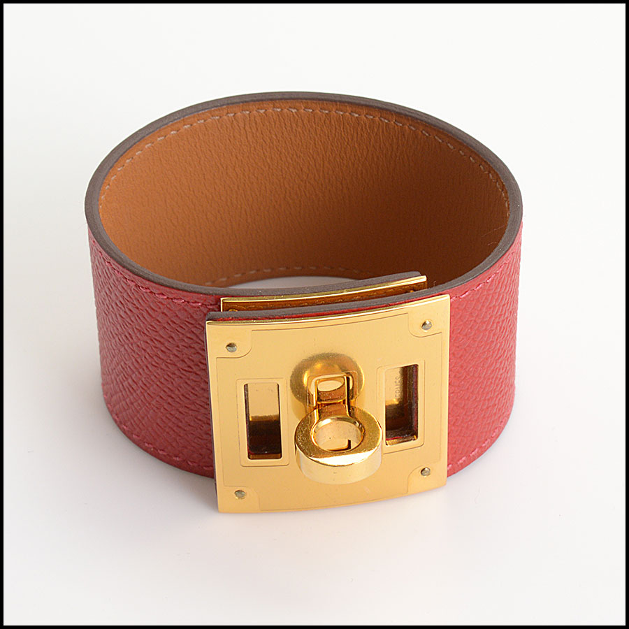RDC10561 Hermes Red Leather Kelly Dog Bracelet