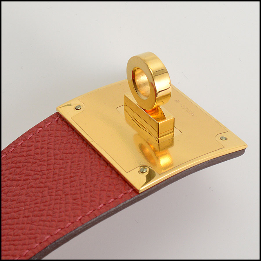 RDC10561 Hermes Red Leather Kelly Dog Bracelet close up
