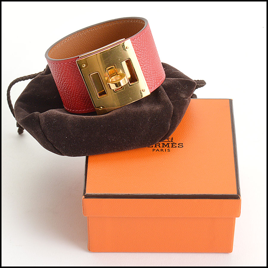 RDC10561 Hermes Red Leather Kelly Dog Bracelet includes