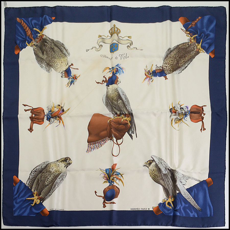 RDC10356 Hermes Chasse a' Vol Falcon 90cm Silk Scarf
