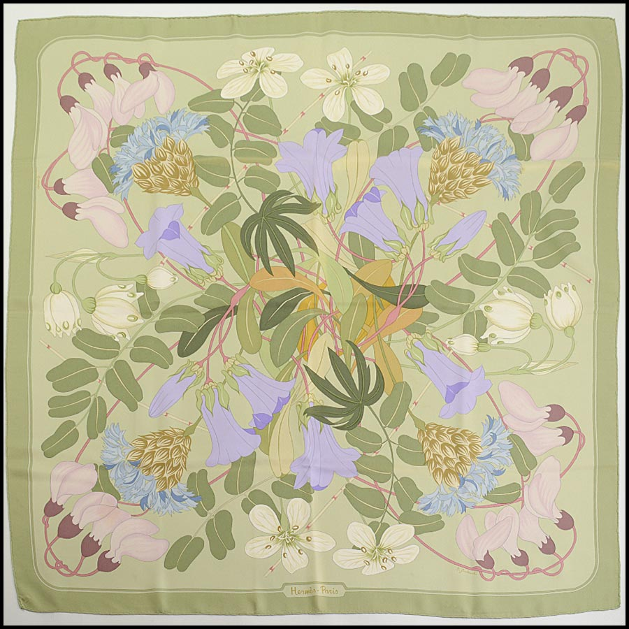 RDC11170 Hermes Light Green Flora Graeca Silk Scarf