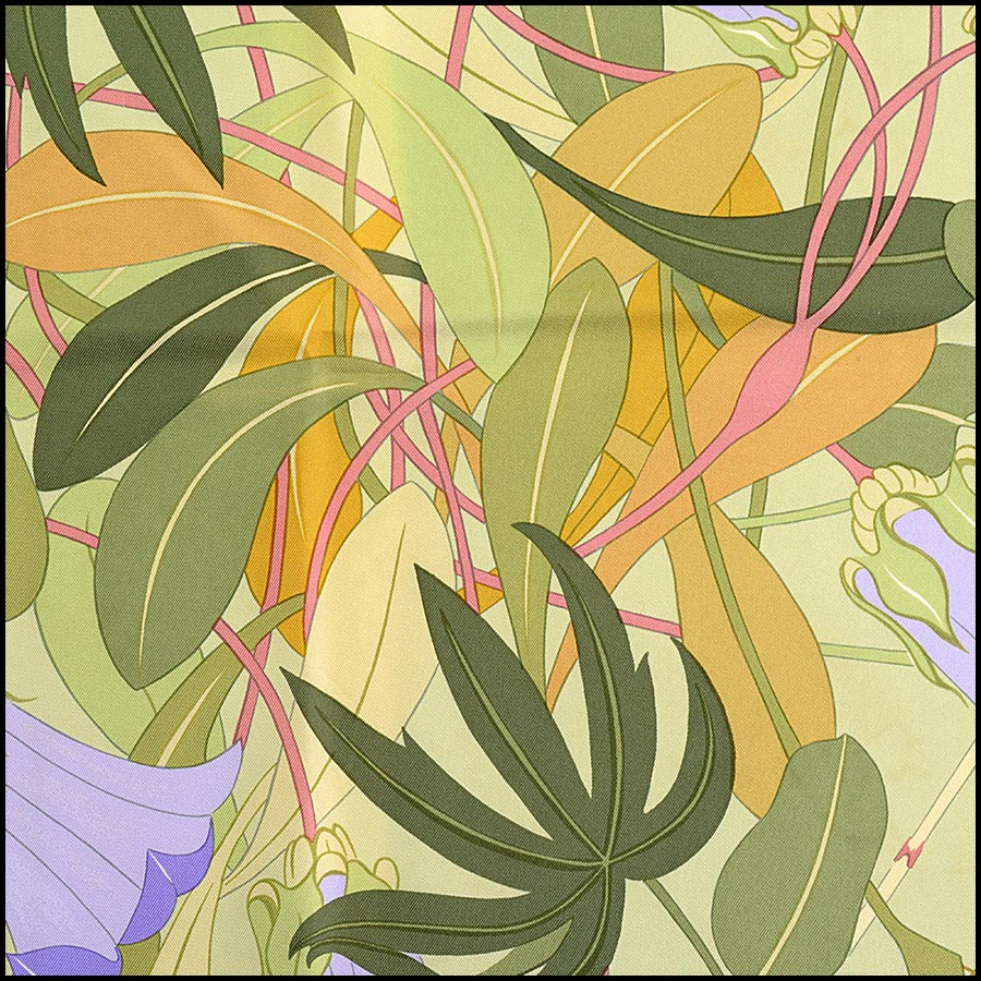 RDC11170 Hermes Light Green Flora Graeca Silk Scarf close up