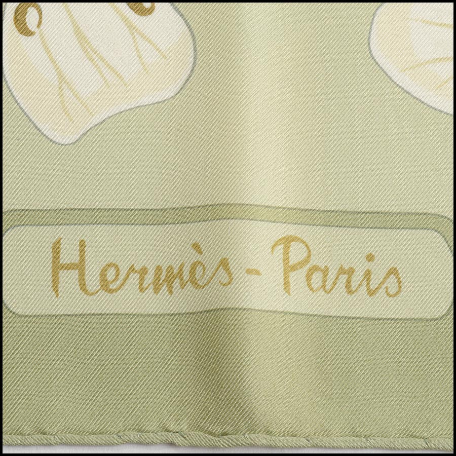 RDC11170 Hermes Light Green Flora Graeca Silk Scarf logo