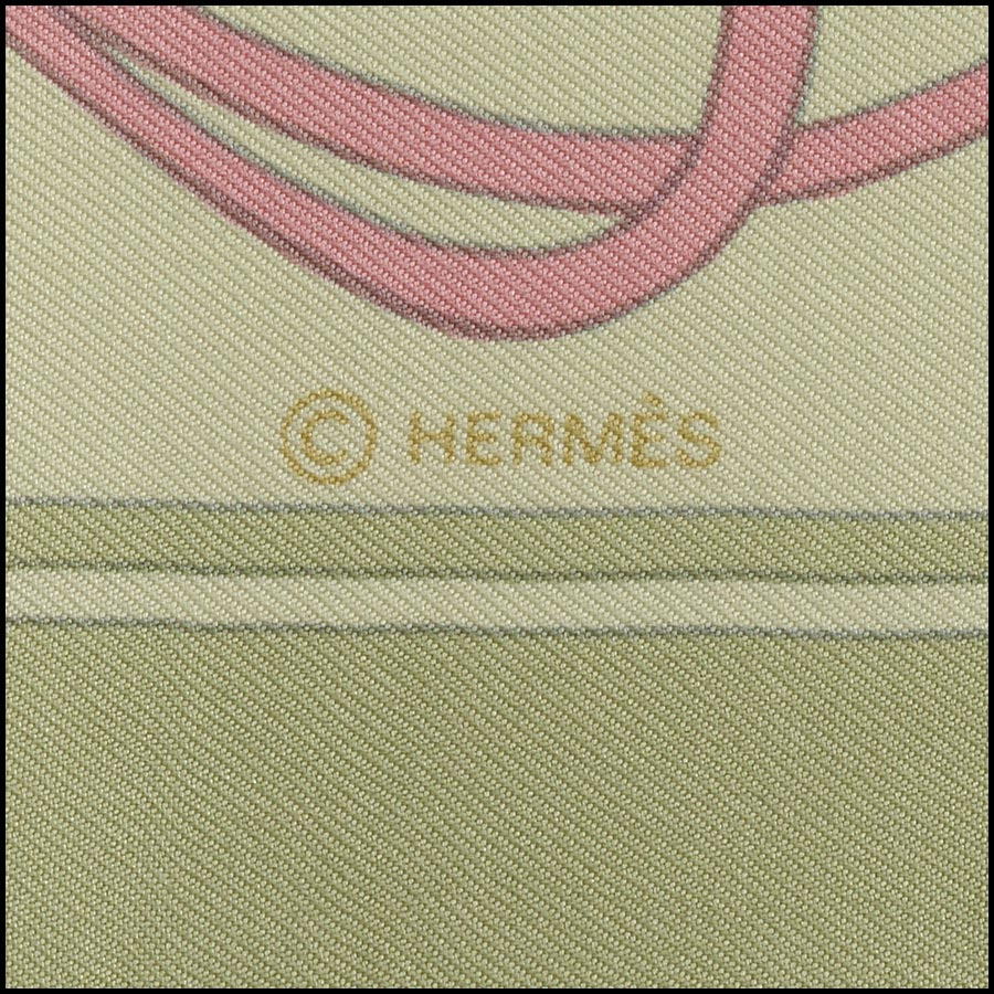 RDC11170 Hermes Light Green Flora Graeca Silk Scarf tag