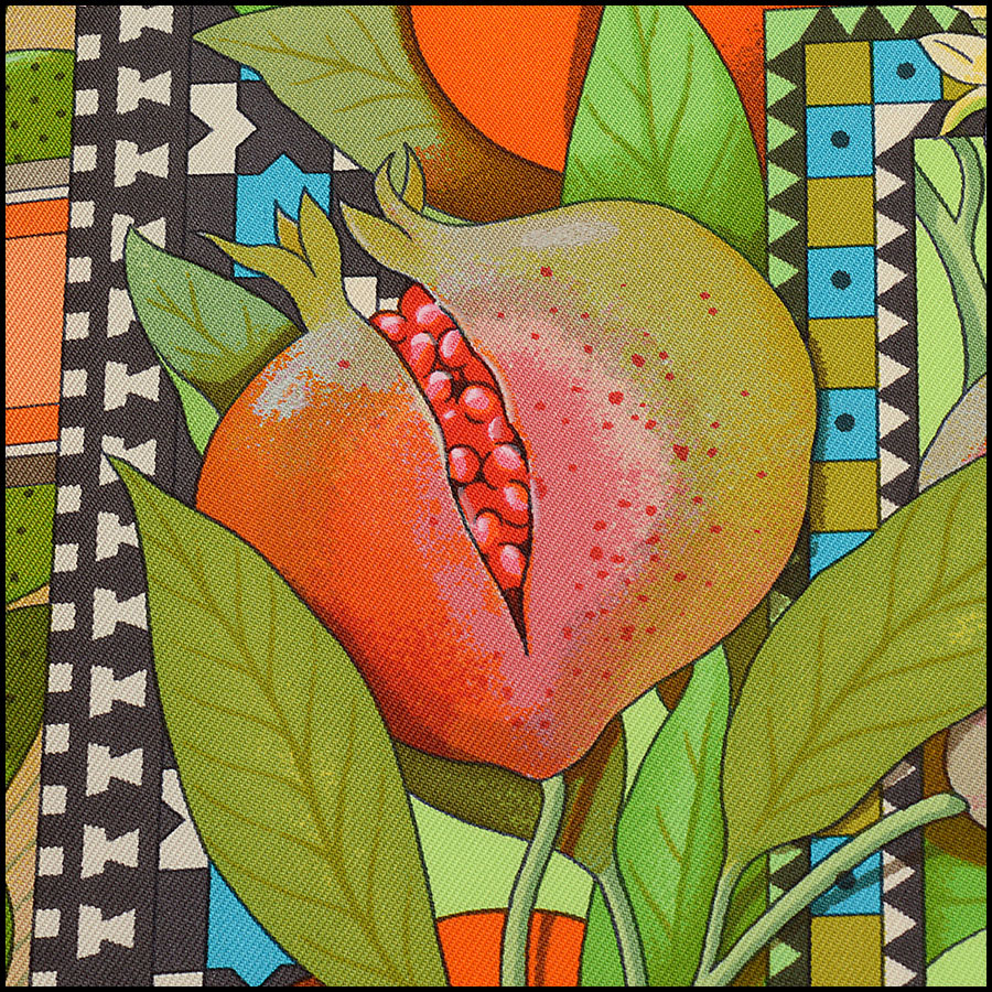 RDC10299 Hermes Fruit Print Silk Scarf close up
