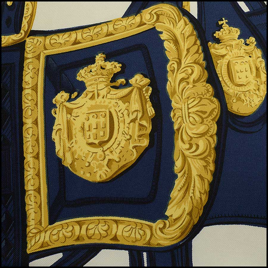 RDC11430 Hermes Navy/Ivory Brides de Gala Silk Scarf close up