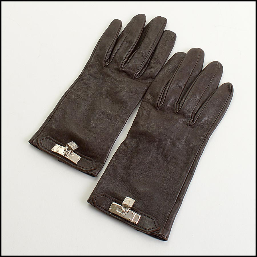 RDC11252 Hermes Brown Leather Gloves