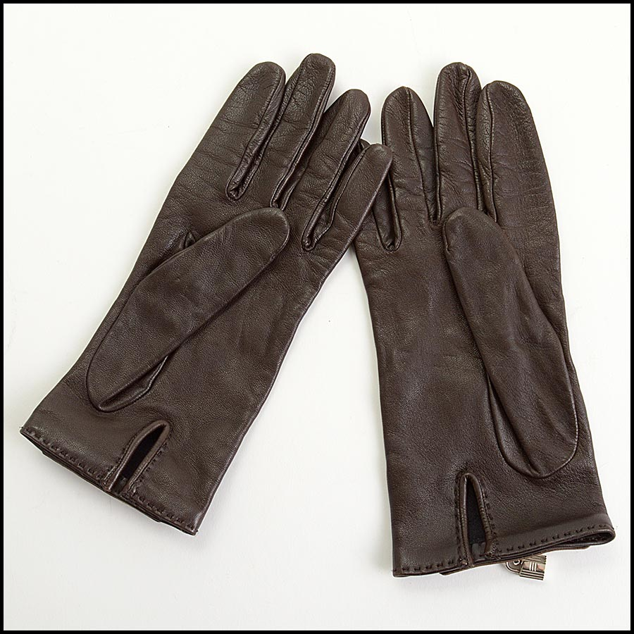 RDC11252 Hermes Brown Leather Gloves back