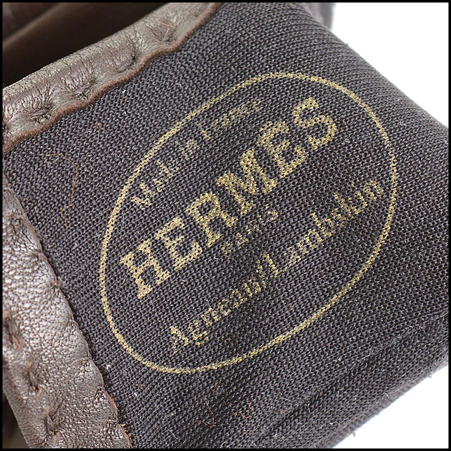 RDC11252 Hermes Brown Leather Gloves tag 1