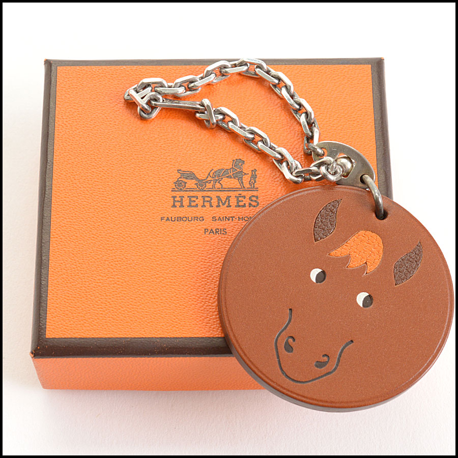 RDC10996 Hermes Brown Horse Leather Purse Charm includes