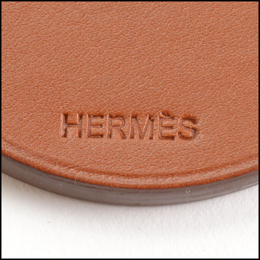 RDC10996 Hermes Brown Horse Leather Purse Charm tag 1