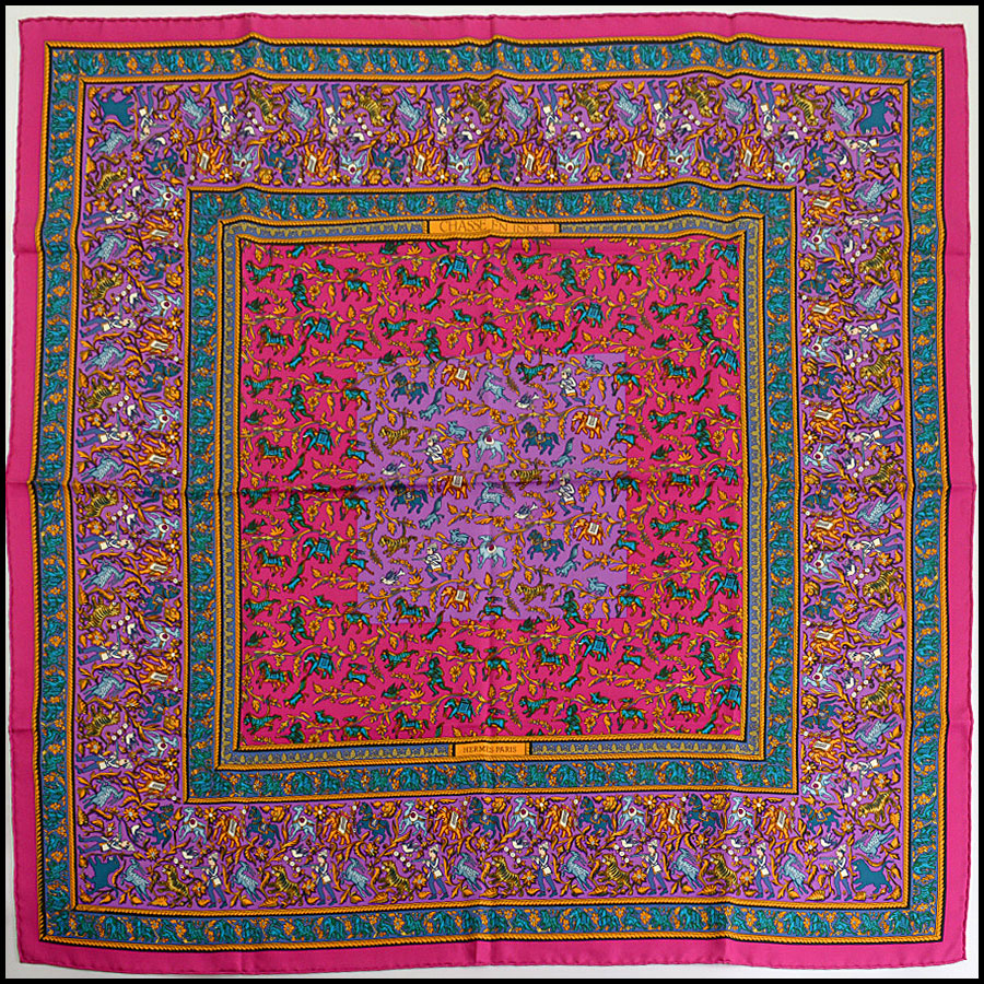 RDC10297 Hermes Pink/Purple Indian Elephant Silk Scarf