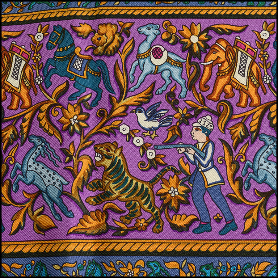 RDC10297 Hermes Pink/Purple Indian Elephant Silk Scarf close up