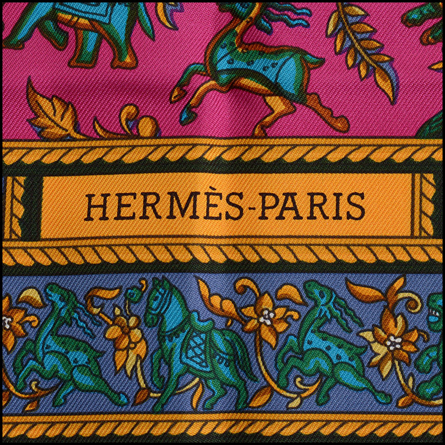 RDC10297 Hermes Pink/Purple Indian Elephant Silk Scarf tag 2