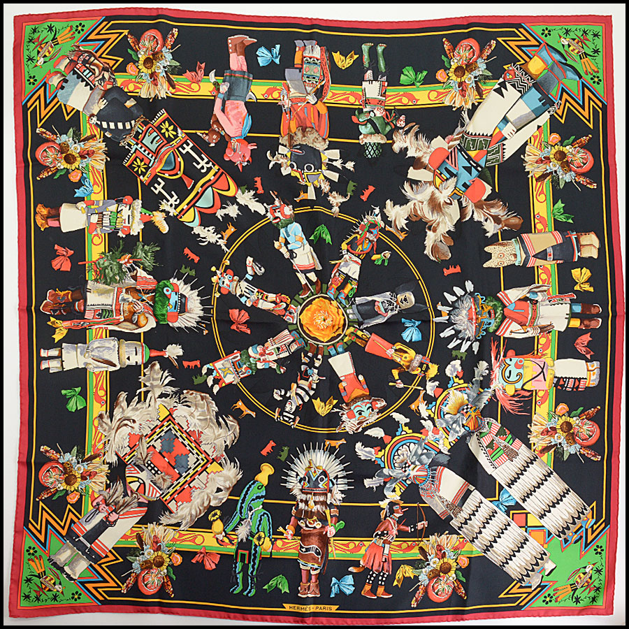 RDC10233 Hermes Red/Black Kachina Scarf