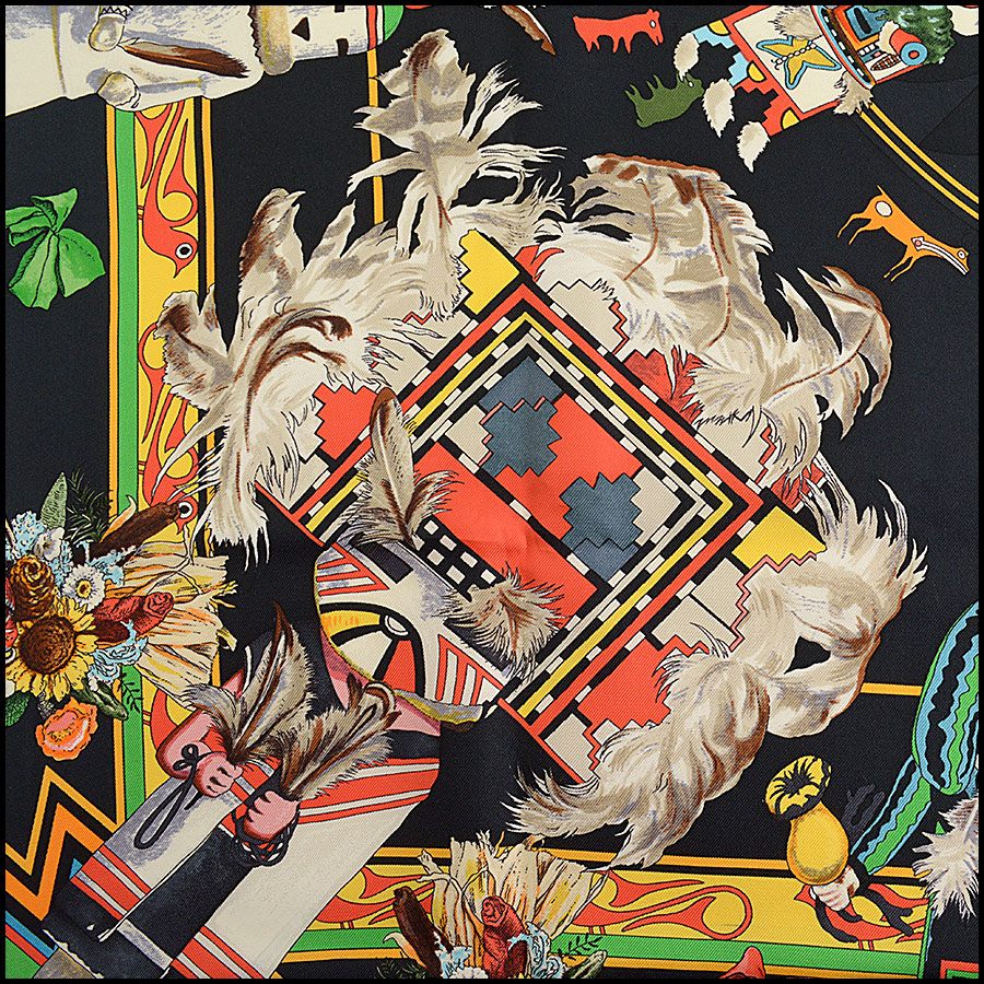RDC10233 Hermes Red/Black Kachina Scarf close up