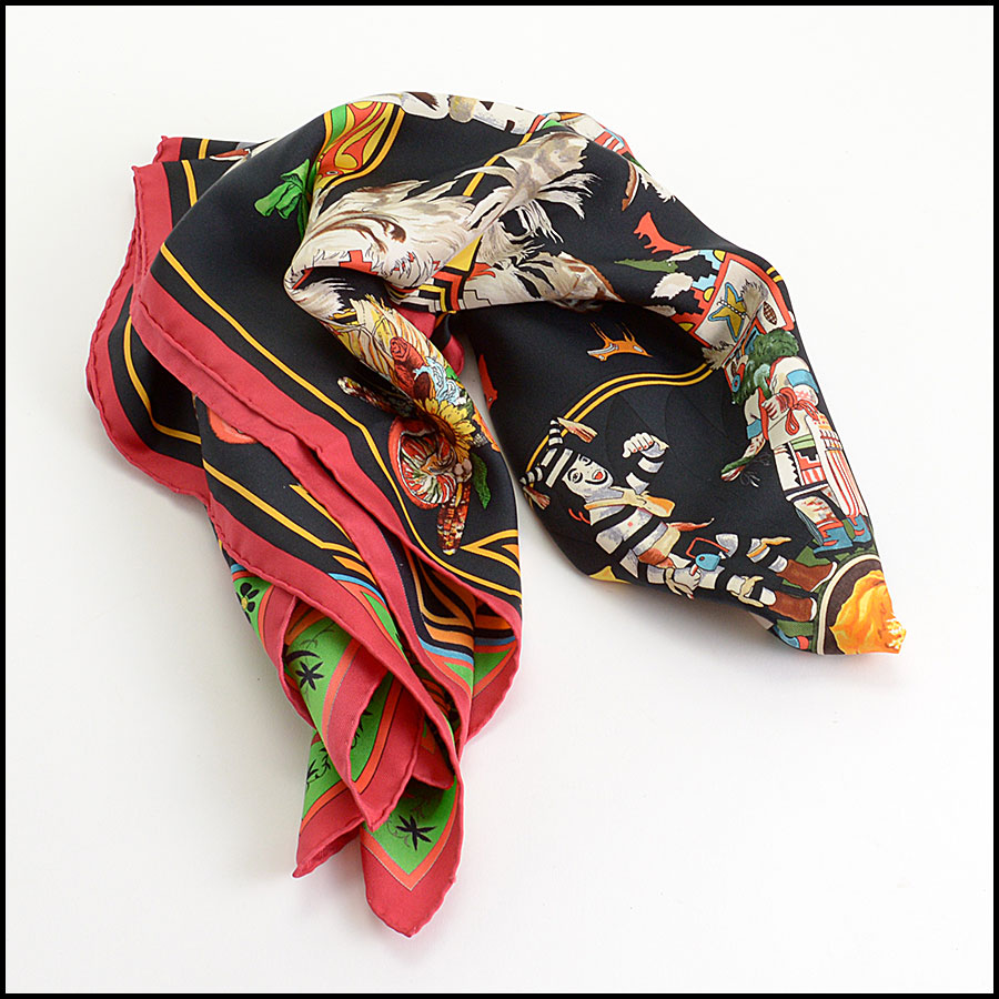 RDC10233 Hermes Red/Black Kachina Scarf fold
