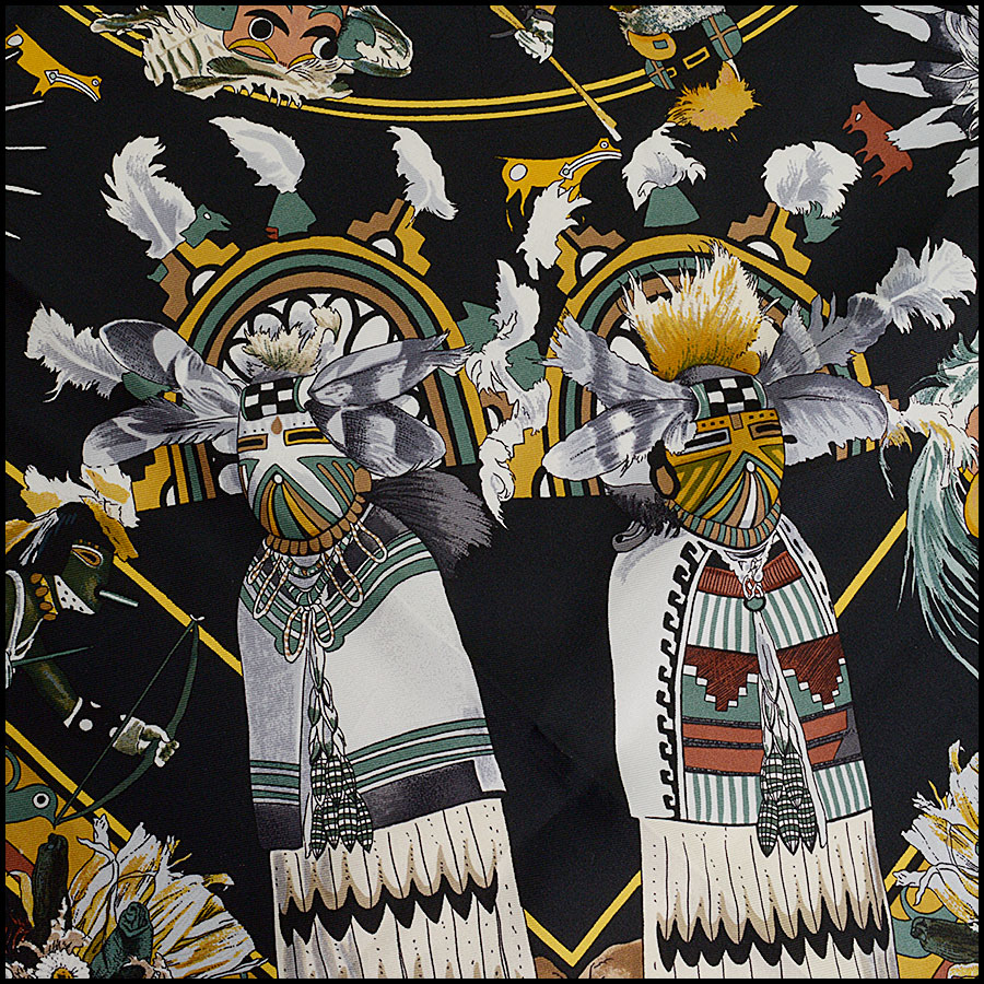 RDC10303 Hermes Black Kachinas Silk Scarf close up