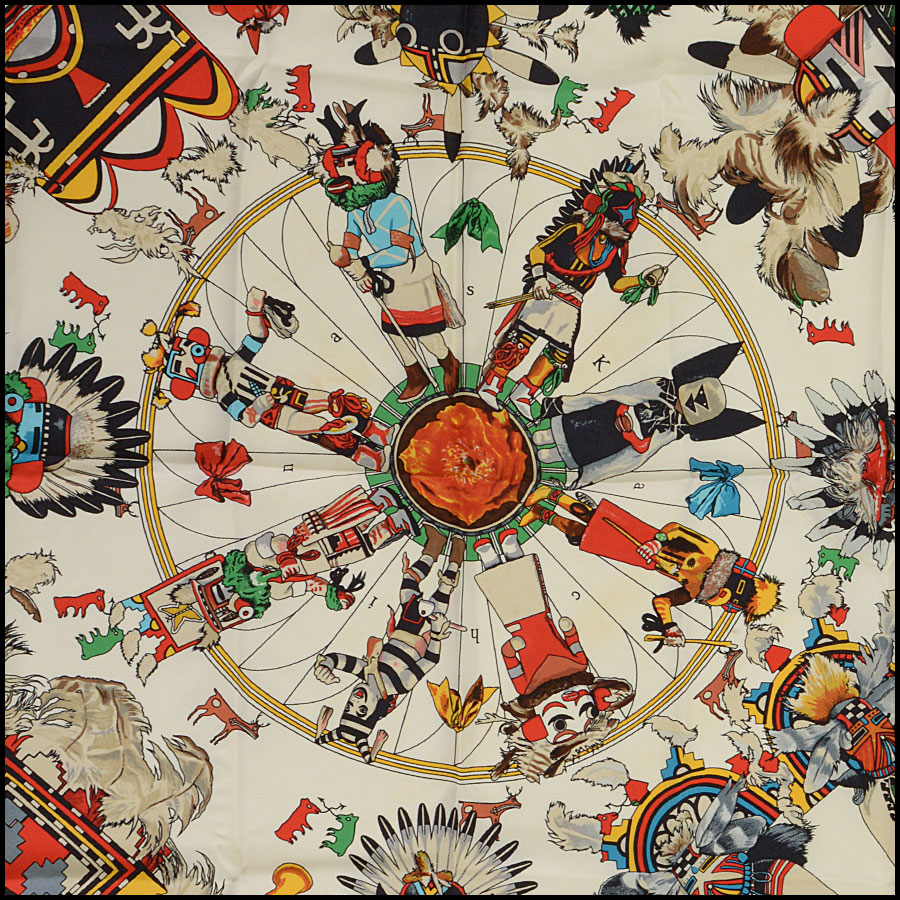 RDC10445 Hermes Ivory Multicolor Kachinas Silk Scarf title
