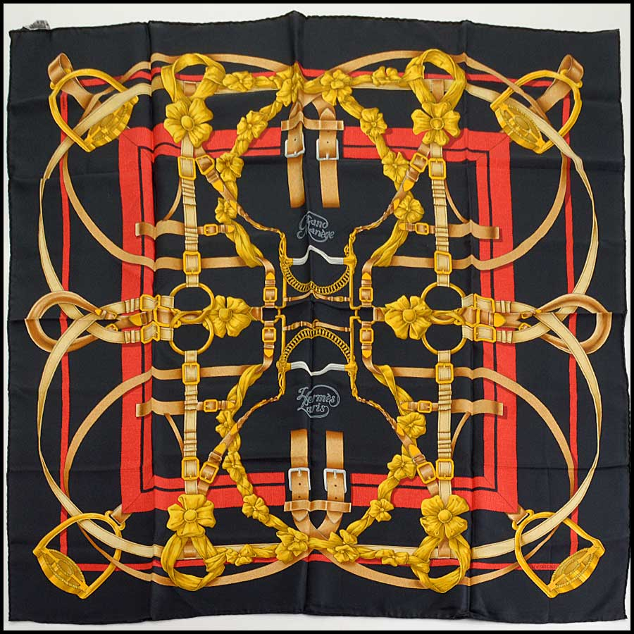 RDC11142 Hermes Black/Gold/Red Grand Menege Silk Scarf