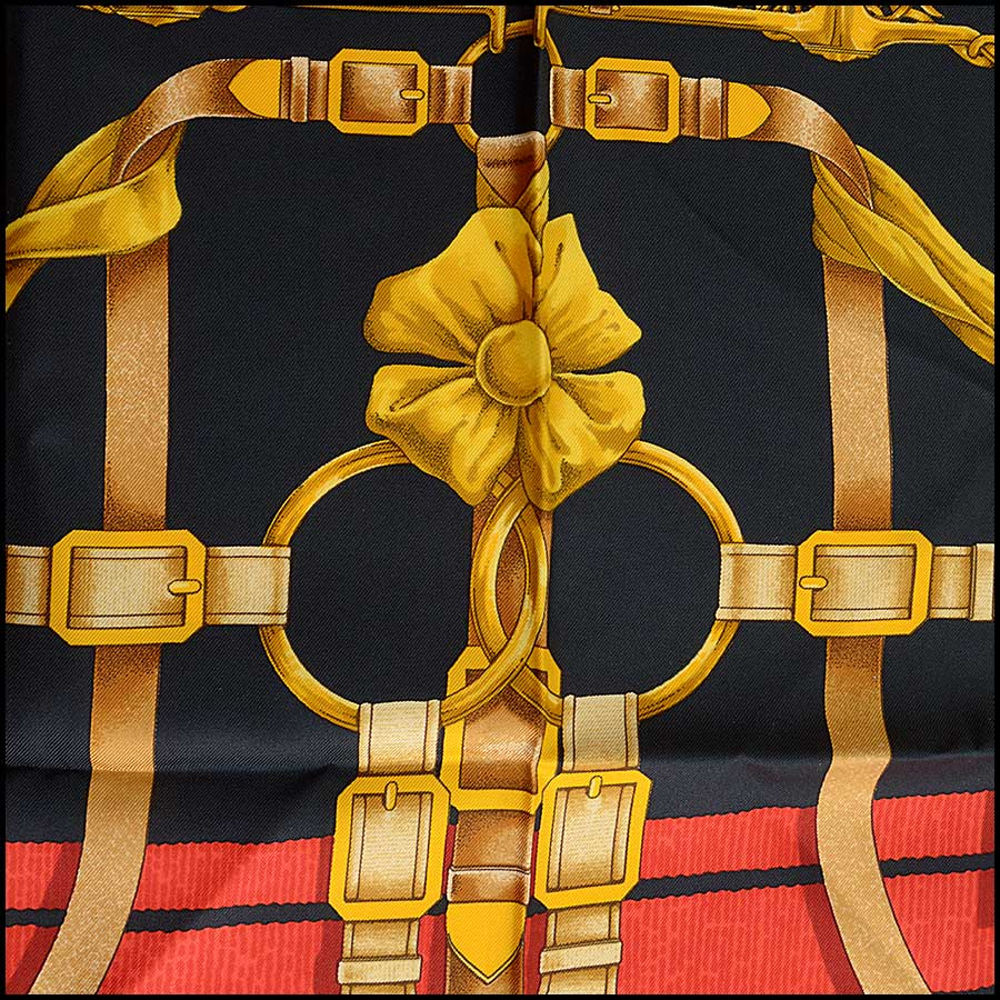 RDC11142 Hermes Black/Gold/Red Grand Menege Silk Scarf close up