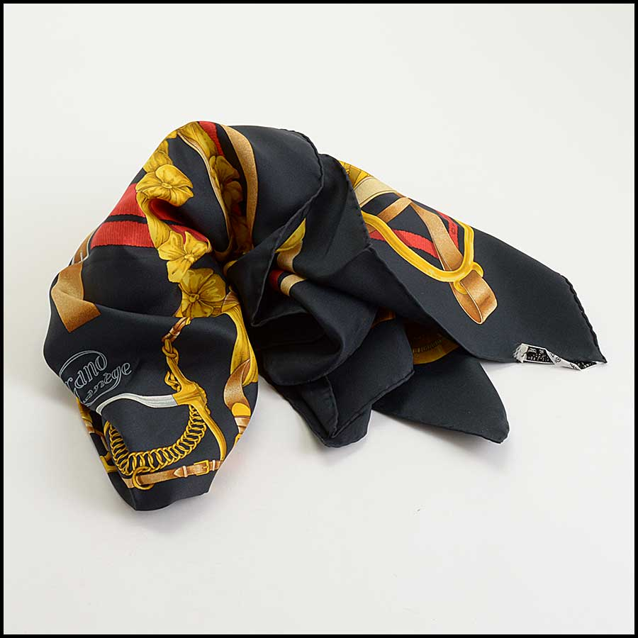 RDC11142 Hermes Black/Gold/Red Grand Menege Silk Scarf fold