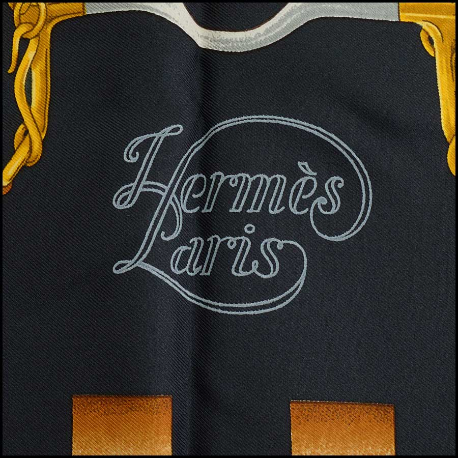 RDC11142 Hermes Black/Gold/Red Grand Menege Silk Scarf logo