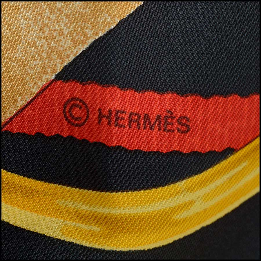 RDC11142 Hermes Black/Gold/Red Grand Menege Silk Scarf tag