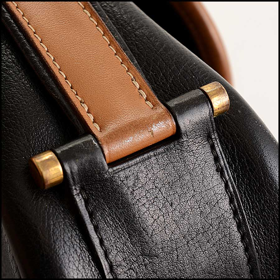 RDC11323 Hermes Black/Tan Noumea Bag close up