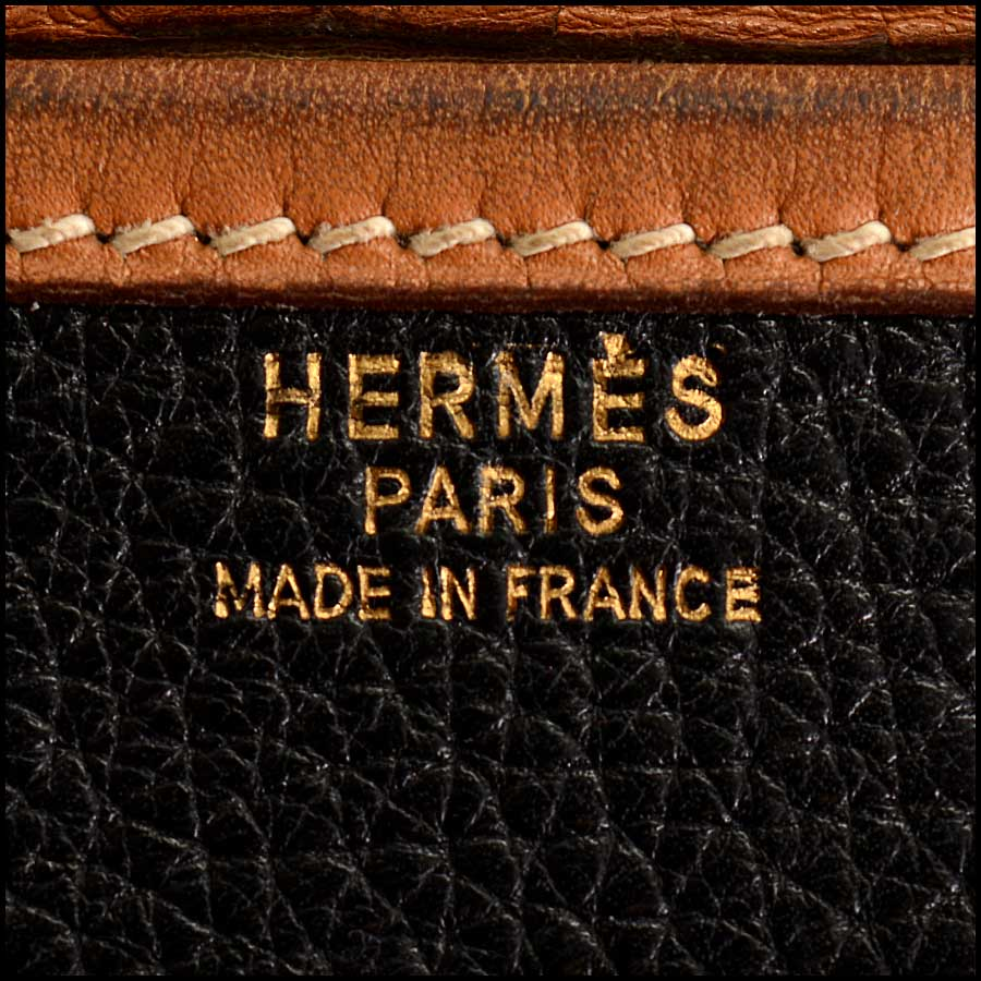 RDC11323 Hermes Black/Tan Noumea Bag tag