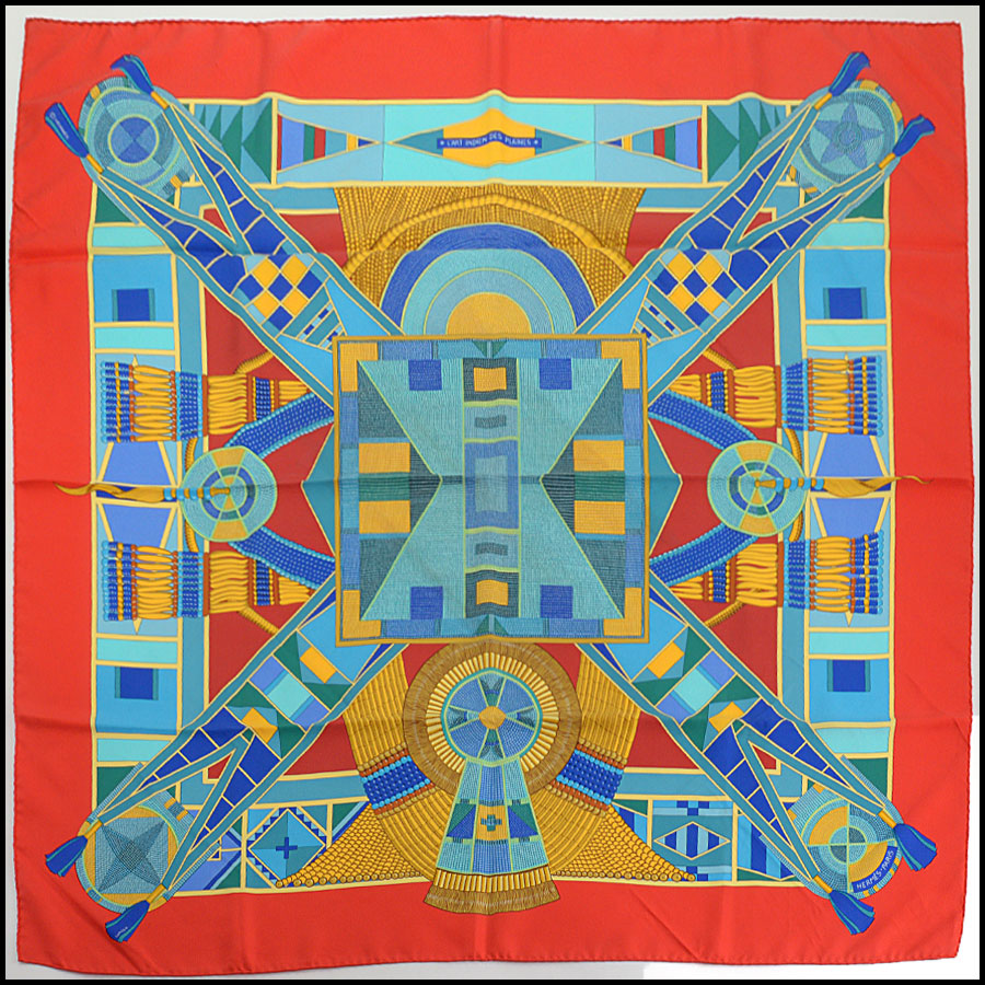 RDC10783 Hermes Multicolor Plains Indian Art Silk Scarf
