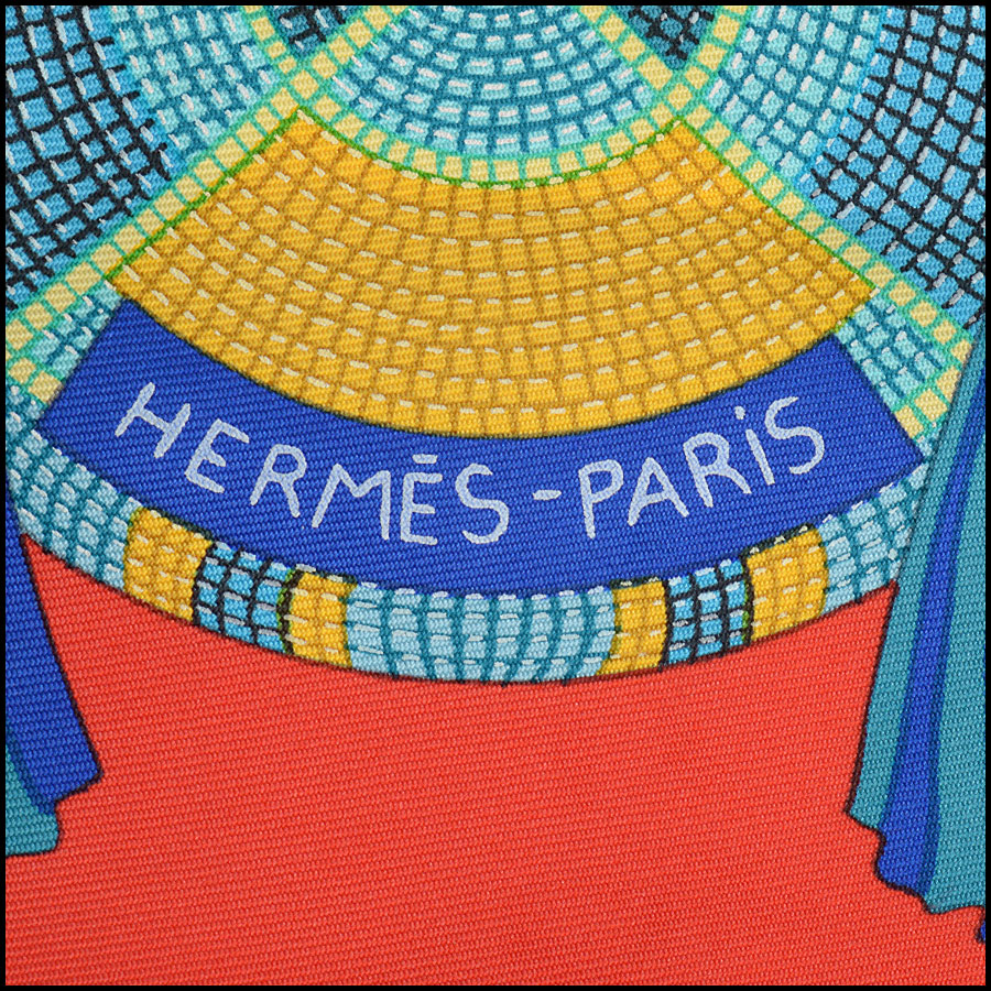 RDC10783 Hermes Multicolor Plains Indian Art Silk Scarf logo