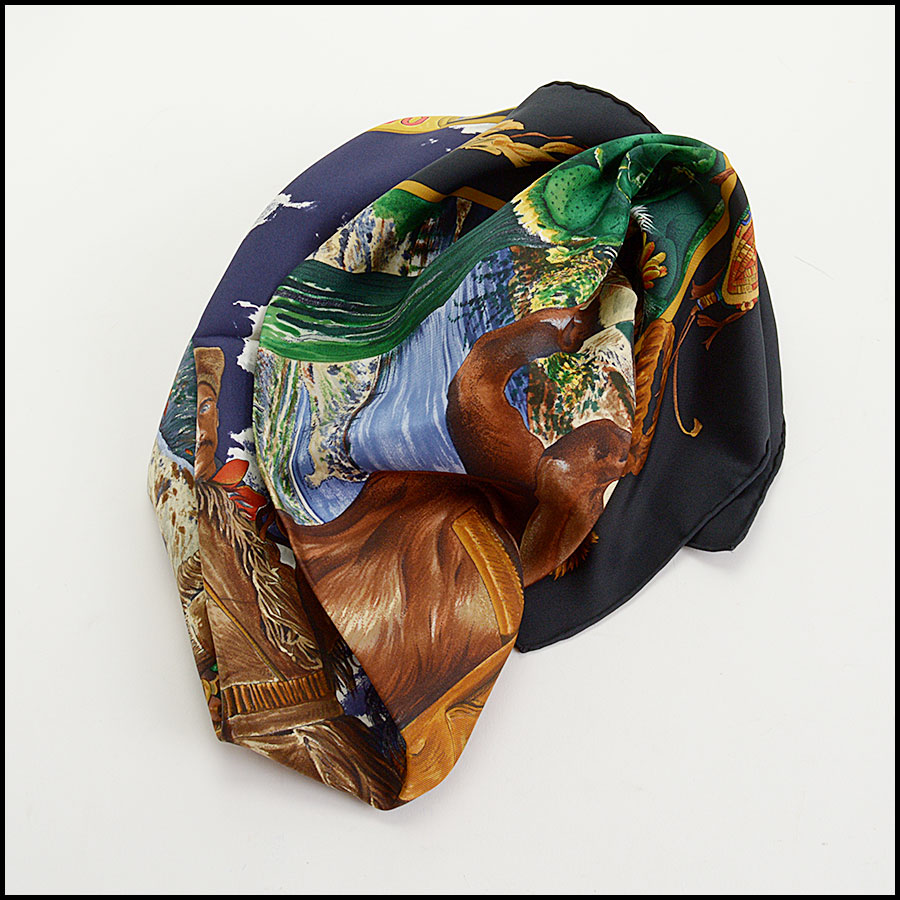 RDC10698 Hermes Multicolor Pony Express Silk Scarf fold