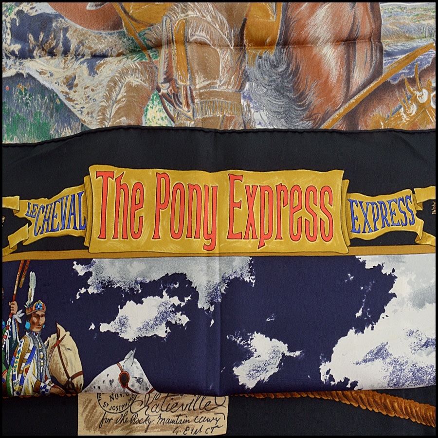 RDC10698 Hermes Multicolor Pony Express Silk Scarf title