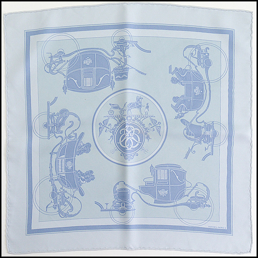 RDC10278 Hermes Blue Carriage Pocket Square