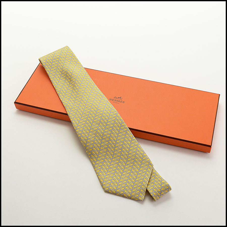 RDC10541 Hermes Yellow Chain Print Silk Tie