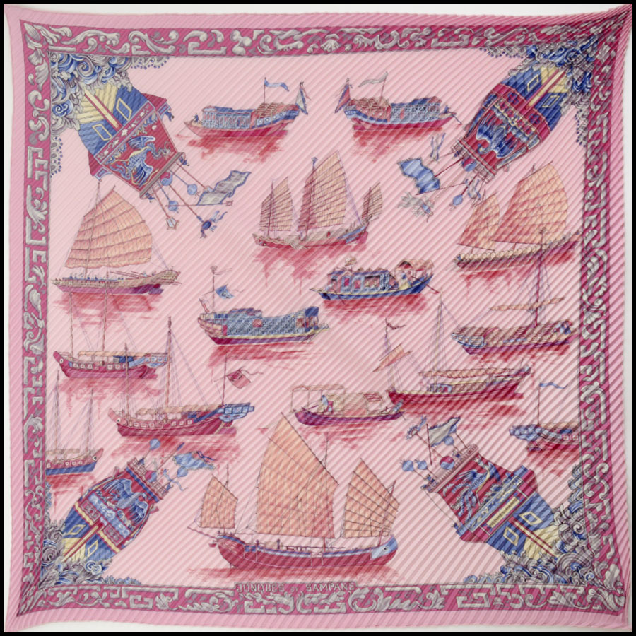 RDC11009 Hermes Pink Sampans Pleated Silk Scarf