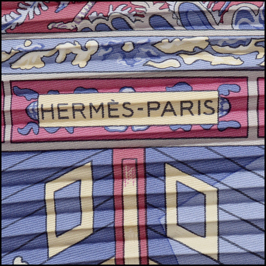 RDC11009 Hermes Pink Sampans Pleated Silk Scarf logo
