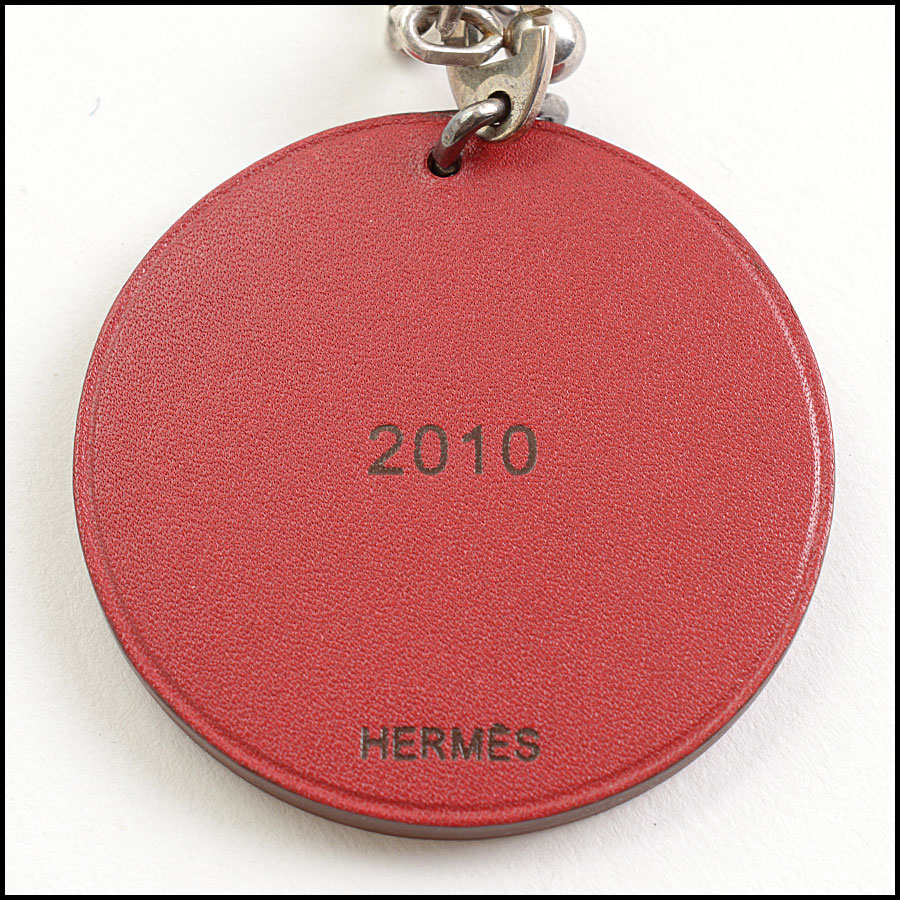RDC10995 Hermes Red Tiger Leather Purse Charm back