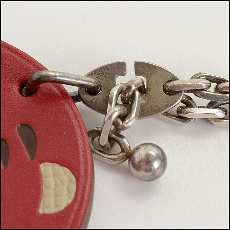 RDC10995 Hermes Red Tiger Leather Purse Charm close up