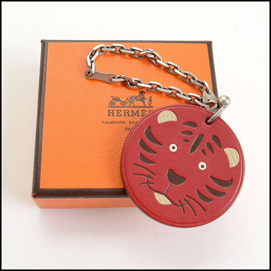 RDC10995 Hermes Red Tiger Leather Purse Charm includes