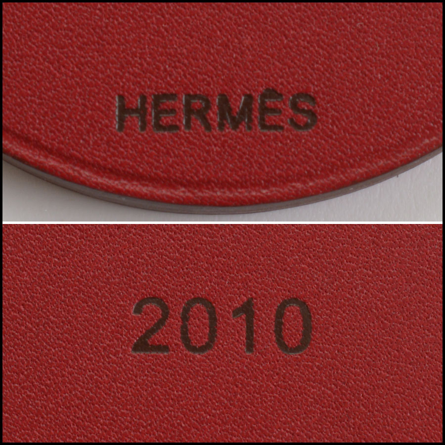 RDC10995 Hermes Red Tiger Leather Purse Charm tag 1